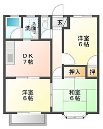 愛知県豊橋市牟呂中村町の賃貸アパートの間取り