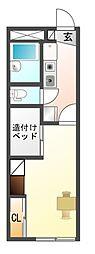 愛知県豊川市御津町西方日暮の賃貸アパートの間取り