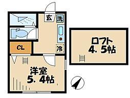 小田急小田原線 読売ランド前駅 徒歩12分の賃貸アパート 1階1Kの間取り