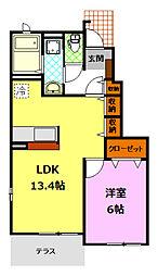 茨城県桜川市岩瀬の賃貸アパートの間取り