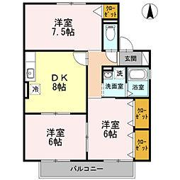 愛知県岡崎市百々西町の賃貸アパートの間取り
