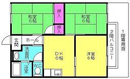 ドミール中島 A棟[203号室]の間取り