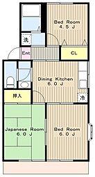 神奈川県相模原市中央区上溝1丁目の賃貸アパートの間取り