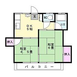 第1大金アパート[203号室]の間取り