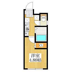 仮称 王子一丁目マンション B棟 4階1Kの間取り