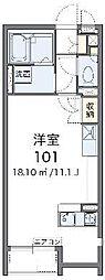 JR武蔵野線 吉川駅 バス15分 おあしす南下車 徒歩2分の賃貸アパート 2階ワンルームの間取り