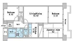 ザ・ハウス1381[4階]の間取り