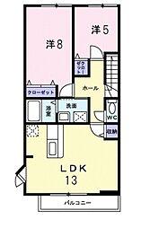 ジン シャン 2階2LDKの間取り