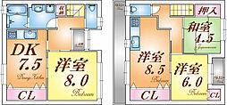 [テラスハウス] 兵庫県神戸市垂水区王居殿3丁目 の賃貸【兵庫県 / 神戸市垂水区】の間取り