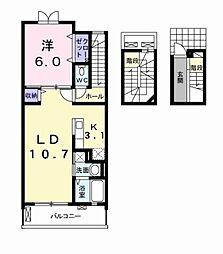 愛知県豊田市桝塚西町南山の賃貸アパートの間取り