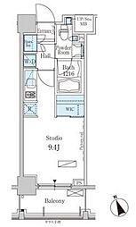 パークアクシス芝浦 6階ワンルームの間取り