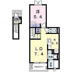 ビブレストV A[2階]の間取り