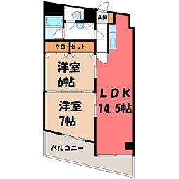栃木県宇都宮市昭和3丁目の賃貸マンションの間取り