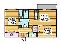 南海高野線 狭山駅 徒歩8分の賃貸アパート 1階2LDKの間取り