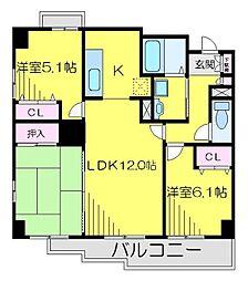JR川越線 南古谷駅 徒歩4分の賃貸マンション 4階3LDKの間取り