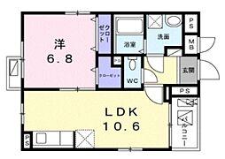 リズルーム 3階1LDKの間取り