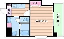 Osaka Metro御堂筋線 天王寺駅 徒歩10分の賃貸マンション 2階1Kの間取り