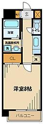 京王線 多磨霊園駅 徒歩9分の賃貸マンション 2階1Kの間取り