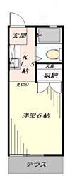 ハイツ恵 1階1Kの間取り