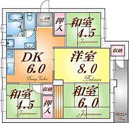 神陵台東住宅57号棟[4階]の間取り