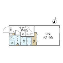 ロータス南長崎(ロータスミナミナガサキ) 4階1Kの間取り