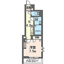 仮称 草加市栄町3丁目シャーメゾン 1階1Kの間取り