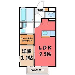 栃木県河内郡上三川町しらさぎ2の賃貸アパートの間取り