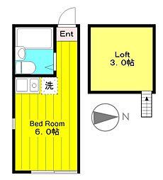 小田急小田原線 生田駅 徒歩6分の賃貸アパート 2階ワンルームの間取り
