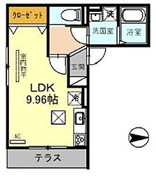 JR埼京線 戸田駅 徒歩12分の賃貸アパート 2階ワンルームの間取り