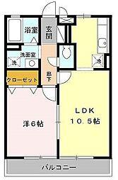 ハウスアムノルデン 2階1LDKの間取り