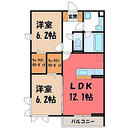 (仮)D-room大光寺1丁目 A 1階2LDKの間取り