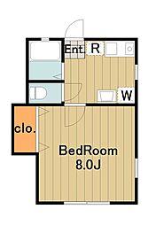 ドーム多摩E 2階1DKの間取り