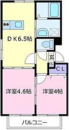 大阪府羽曳野市恵我之荘1丁目の賃貸アパートの間取り