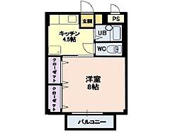 しなの鉄道北しなの 北長野駅 6.6kmの賃貸アパート 2階1Kの間取り