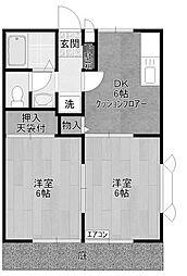 アドバンス多摩B[1階]の間取り