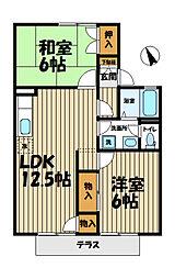 神奈川県横浜市栄区小菅ケ谷2丁目の賃貸アパートの間取り