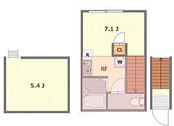 (仮称)バーミープレイス立川4 2階ワンルームの間取り