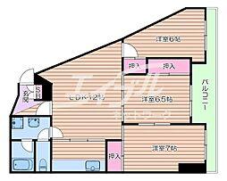 阪急千里線 南千里駅 バス10分 五月ヶ丘下車 徒歩2分の賃貸マンション 3階3LDKの間取り