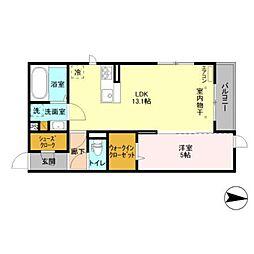つくばエクスプレス 柏の葉キャンパス駅 徒歩25分の賃貸アパート 2階1LDKの間取り