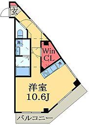 千葉都市モノレール 穴川駅 徒歩6分の賃貸マンション 3階ワンルームの間取り