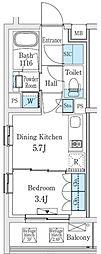 東急東横線 学芸大学駅 徒歩8分の賃貸マンション 1階1DKの間取り