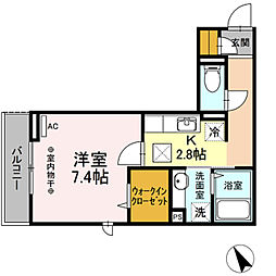 東京都青梅市河辺町9丁目の賃貸アパートの間取り