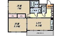 大阪府和泉市尾井町2丁目の賃貸アパートの間取り