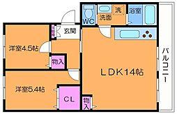 車返団地1街区14号棟 4階2LDKの間取り