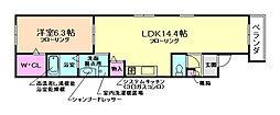 大阪府豊中市小曽根5丁目の賃貸アパートの間取り