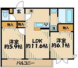 多摩都市モノレール 大塚・帝京大学駅 徒歩10分の賃貸アパート 1階2LDKの間取り