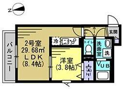 つくばエクスプレス 八潮駅 徒歩6分の賃貸アパート 1階1LDKの間取り