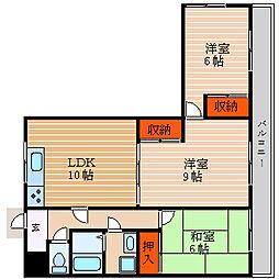 滋賀県彦根市後三条町の賃貸マンションの間取り