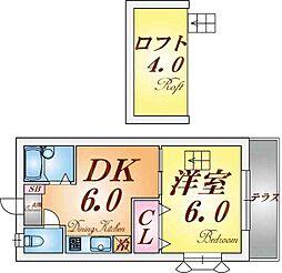 兵庫県神戸市北区鈴蘭台南町4丁目の賃貸アパートの間取り