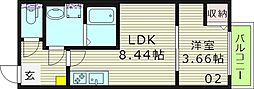 フォレストアレイ 3階1LDKの間取り